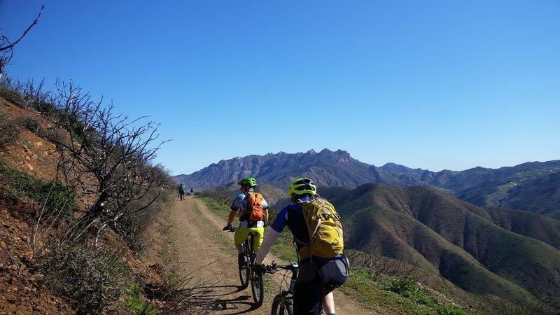 A group enjoys their climb in Point Mugu State Park.