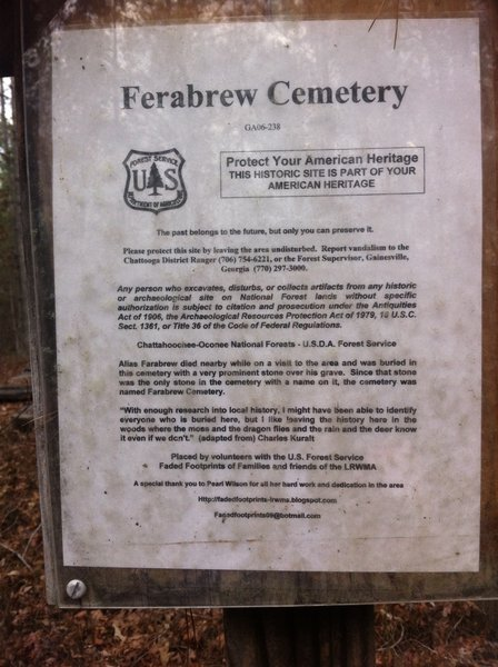 Follow the Ferabrew Cemetery Marker about 40 yards off the trail to visit the historic site.