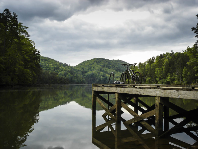 The Stone Place Trail ends at a secluded dock on Tugaloo Lake.