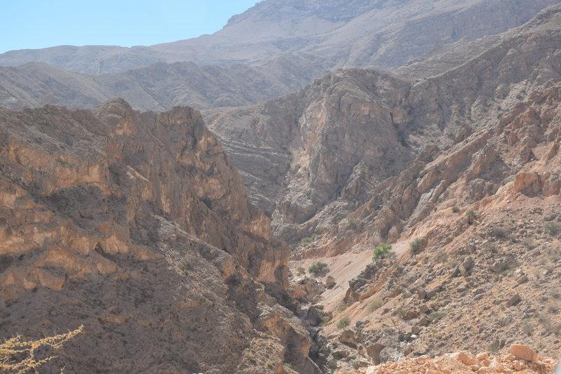 Beautiful Wadis dot the landscape around the road.