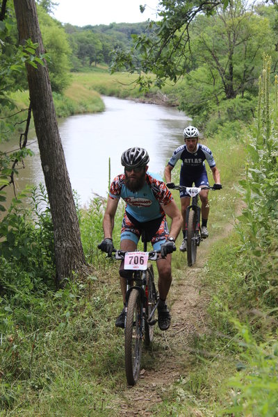 A pair of riders ascends the Riverside Trail in earnest at the 2016 Liberty Bell Cup.