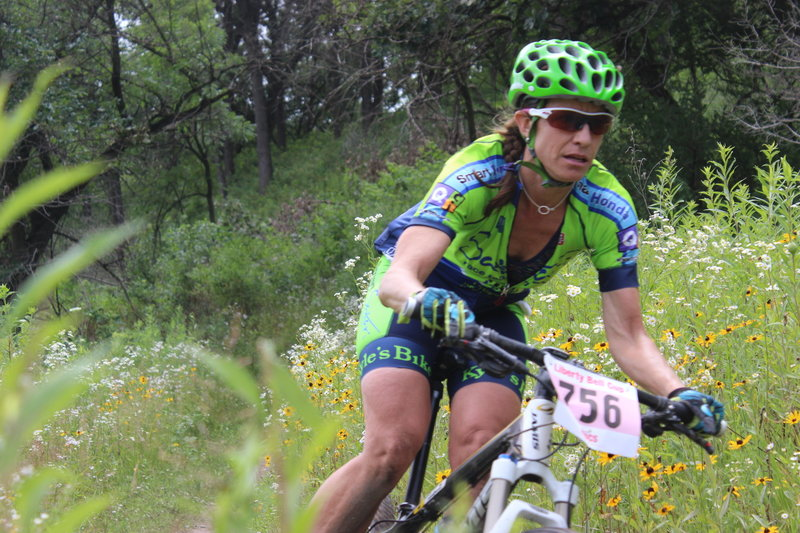 There's no time to enjoy the Riverside Trail's wildflowers as this determined rider races the Liberty Bell Cup 2016.
