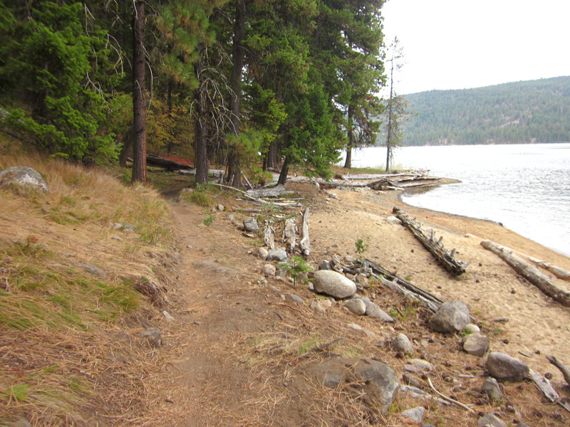 Payette Lake Beach is a great place to hop off the bike and play fetch with the dog in the fall.