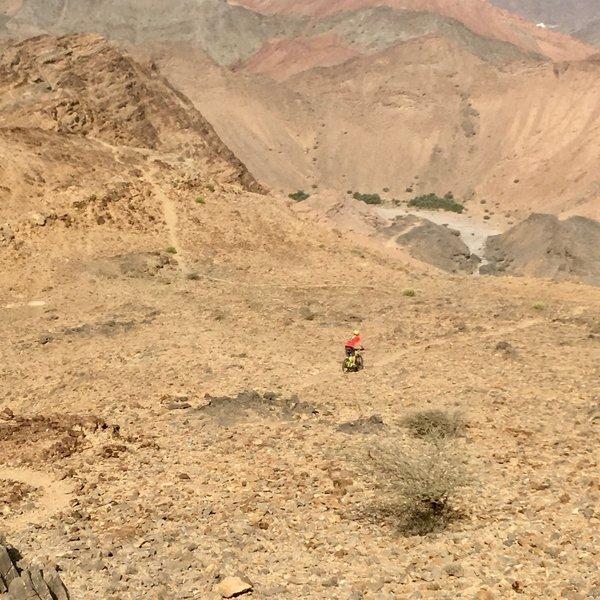 A rider picks his way along the trail.