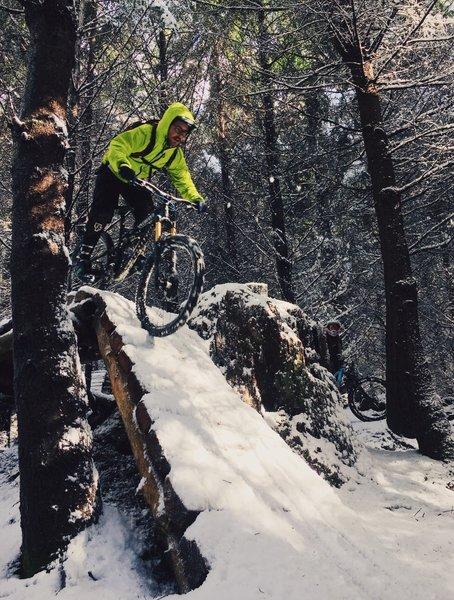 Careful braking is essential when riding Evolution in winter snows. Galbraith Mountain, Bellingham.