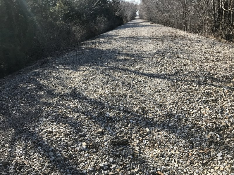 Here's a good look at that loose gravel...it's all good riding the worn path until you meet another rider going the opposite direction!