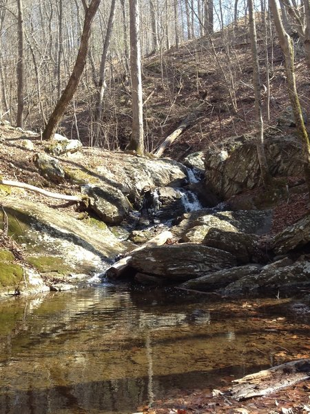 A waterfall cascades above the crossing over Rocky Branch. There is a trail that goes upstream to explore more.