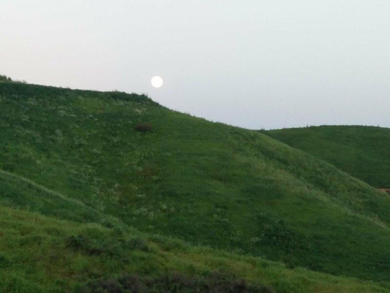 A full moon climbs above the ridgeline along the South Ridge Trail.