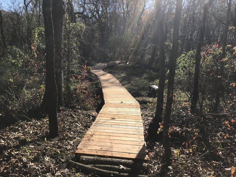This nearly 200-foot long elevated boardwalk keeps you dry over a small creek and marshy area.