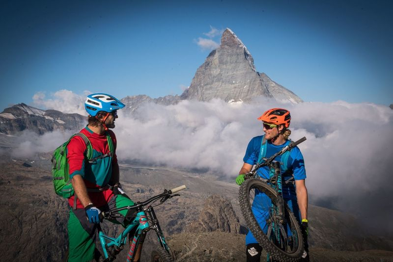 The iconic Matterhorn serves as the backdrop to your ride near Zermatt.