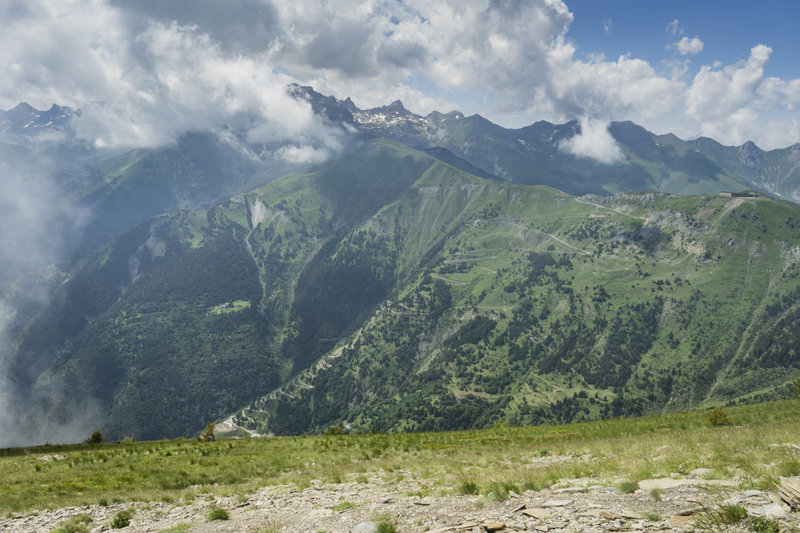 Switchbacks climb to the Col de Tende from the French side. Fortunately, you can drive up from the Italian side.
