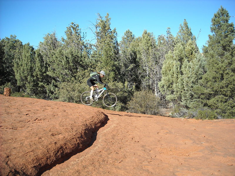 While Sedona's slickrock ledges are rollable in many cases, they can make for some little jumps too!