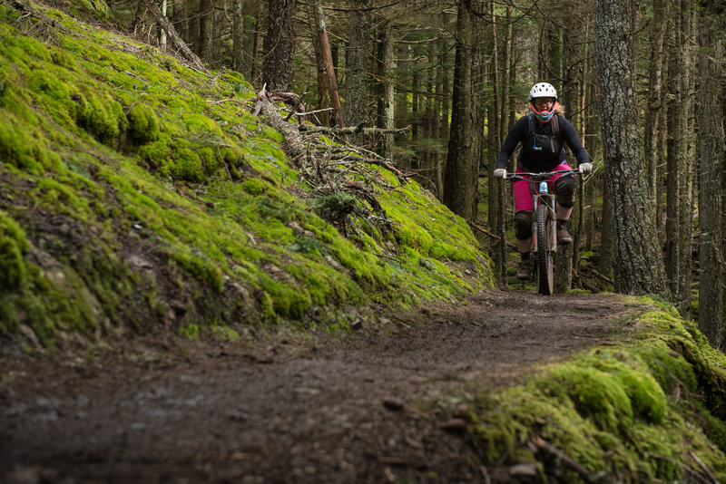 Ashley enjoys an easy cruise through a level section of the Little Summit Trail on Orcas Island.