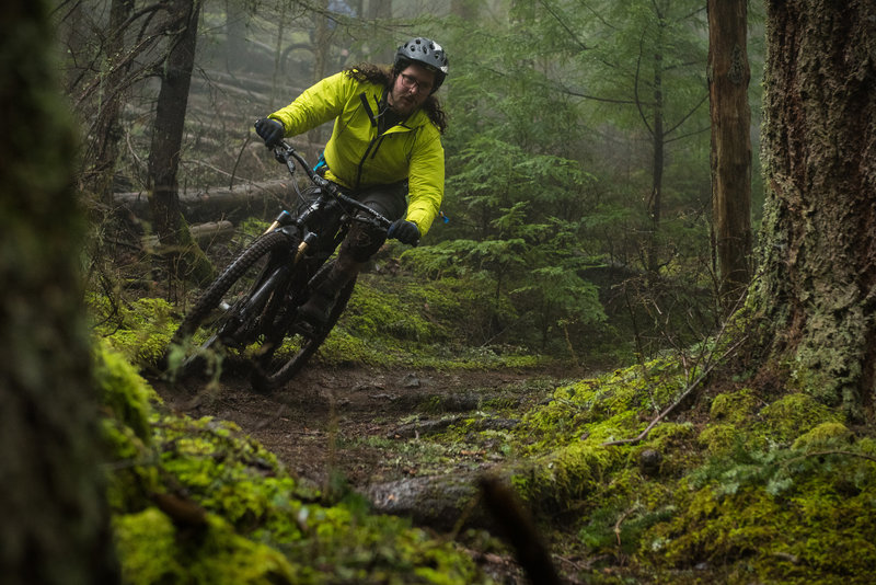 Ryan powers through a rooty turn on the Cold Springs Trail.