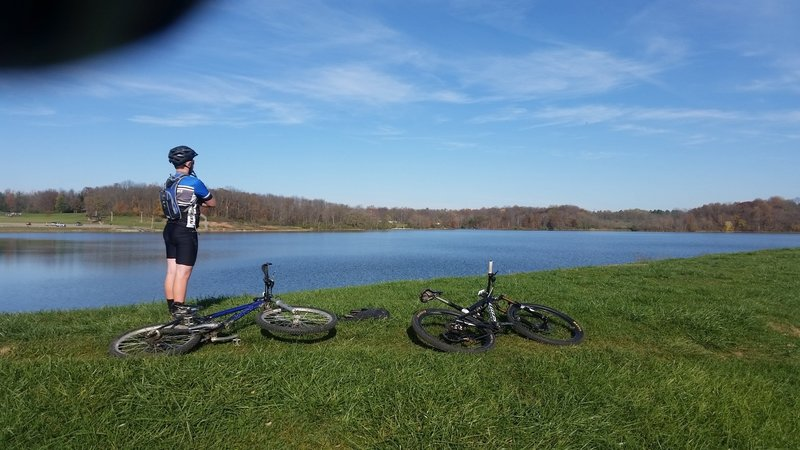 About 0.75 miles into the ride, you'll have a great opportunity for lake views.