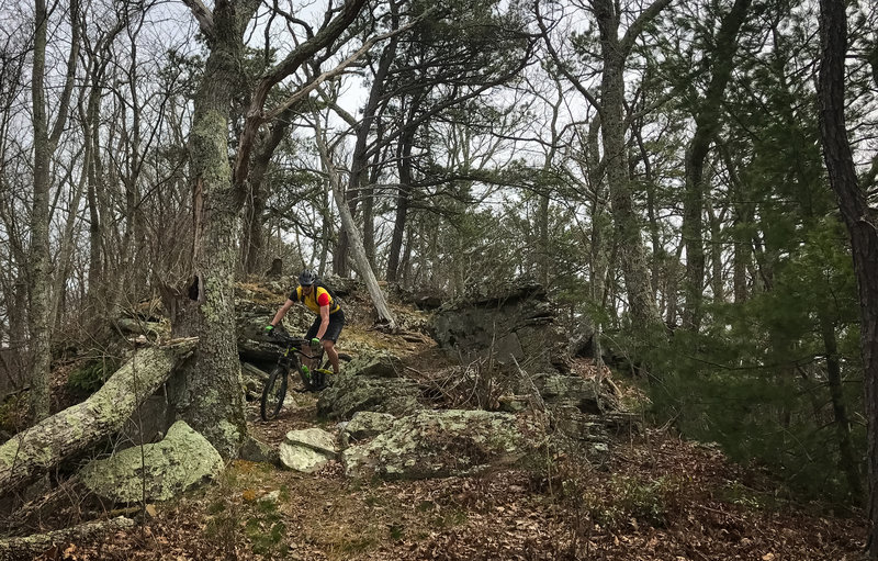 You'll have to navigate this tricky rock obstacle along the trail.