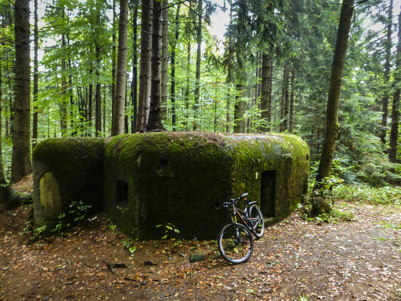 The moss is slowly reclaiming a fortification near the Czech-German border found along the trail.