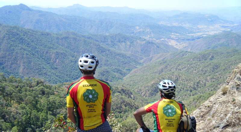 Guides from Ecoride Mex enjoy the views.