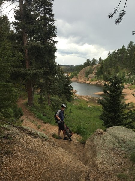 At the bottom of one of several fun technical sections spaced along the Rampart Reservoir Trail.