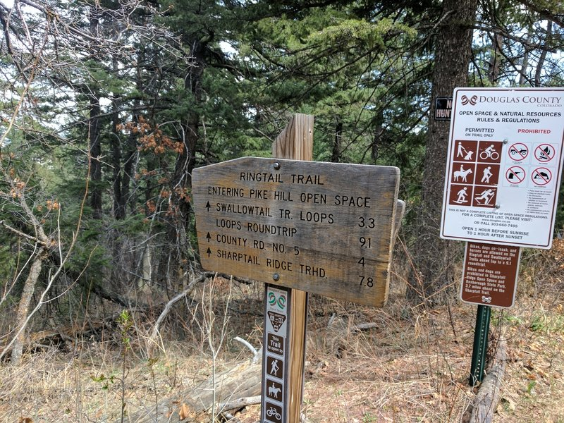 A sign marking the boundary between the National Forest and the the Pike Hill Open Space.