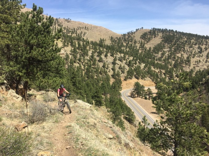 Riding high above Lefthand Canyon Drive.