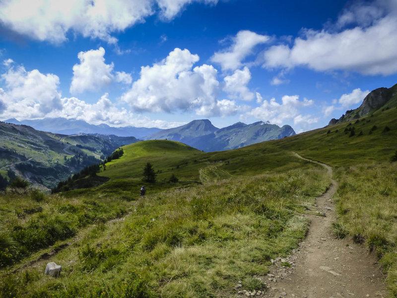 Singletrack along the Franco-Swiss border.