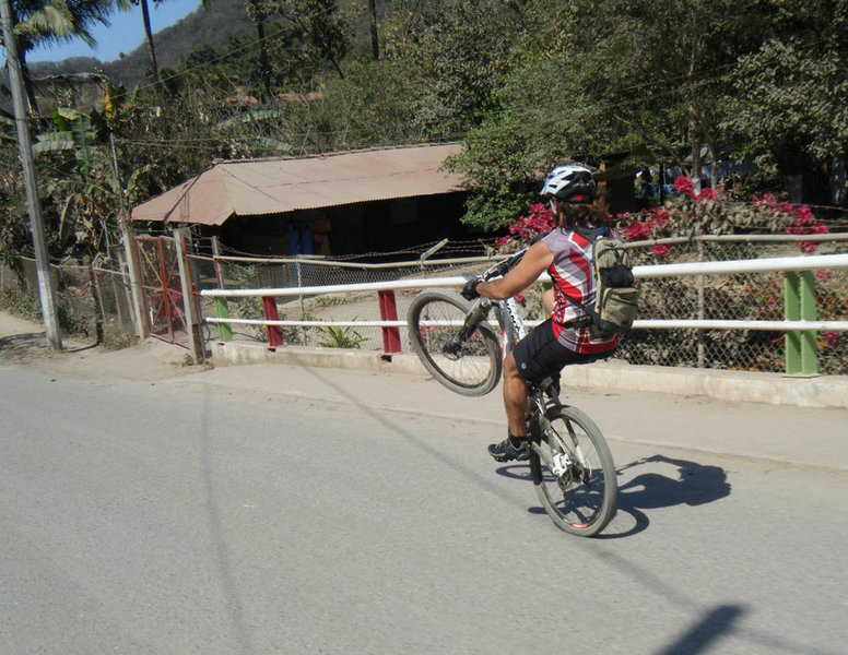 Rogelio wheeling down the road on the return portion of the PV to San Pedro ride.