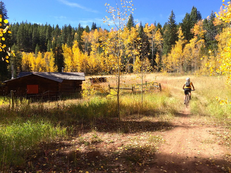 Coming into the old Colorado Mountain Club Cabin or Cow Camp.