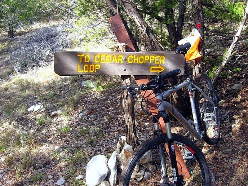 Cedar Chopper Loop sign on Lemons Ridge.