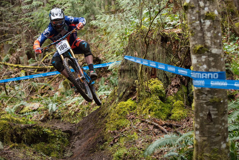 This banked stump jump is fun, but it's tricky enough to sneak up on you.