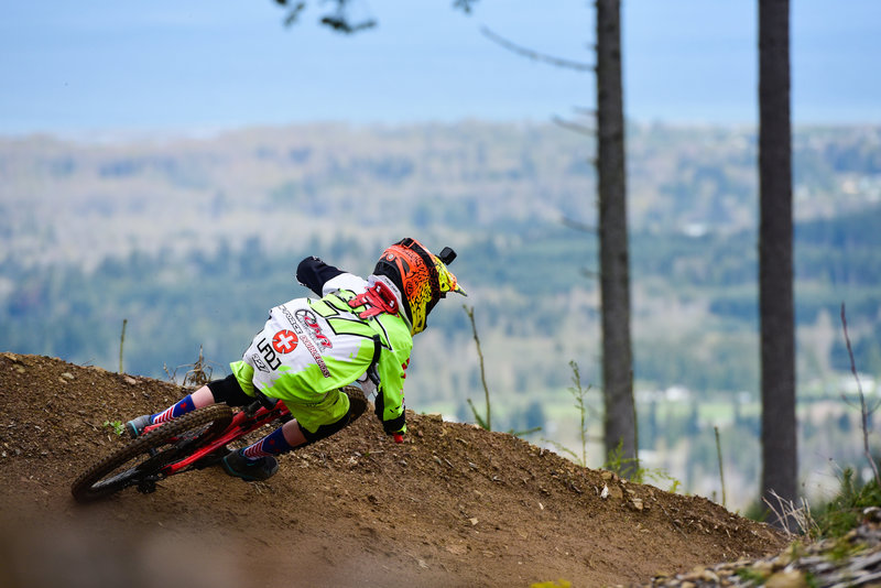 A young racer is highlighted against a surprisingly clear spring background on Muffin Top.