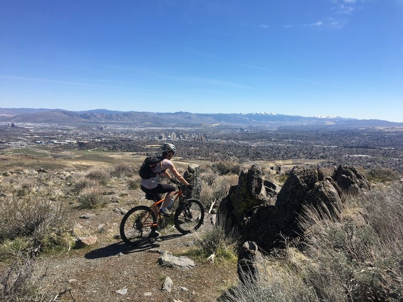 Pedaling the Halo trail above Reno.