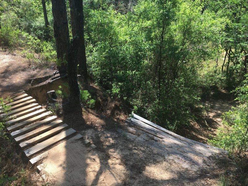 Bridge and then steep drop in