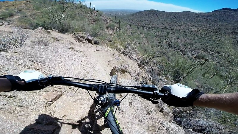 climbing up the east side during a counter-clockwise run on the Pass Mountain Trail. Ride clockwise for a better descent.