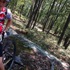 Reid realizing just how sick the rock slabs are along 6 Mile Trail.