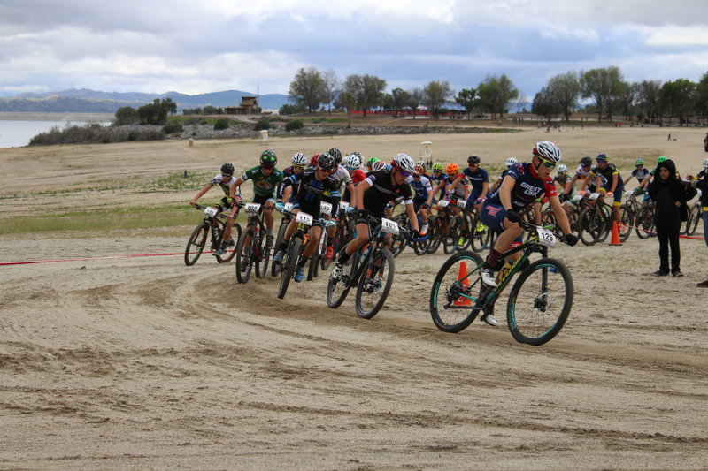 Varsity Boys participating in the NICA SoCal HS Cycling League Beach to Boulders Race.