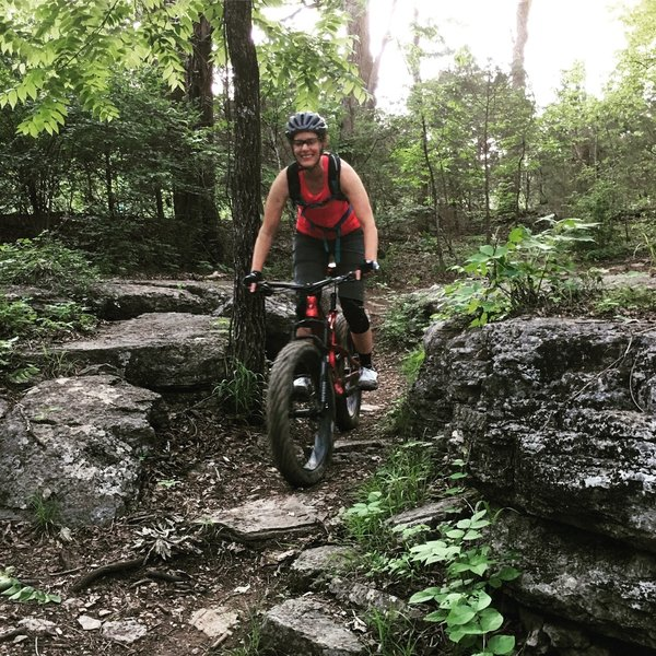 J squeezes through the photogenic karst limestone at Hamilton Creek.
