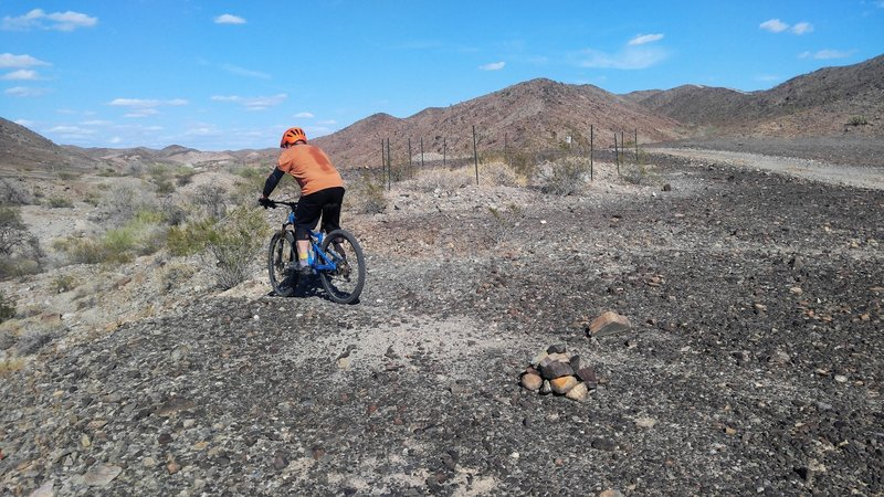"""A rider dropping into the west entrance to """"Ryan's High Side"""" a reclaimed section of Ryan's Trail that had fallen out of use."""