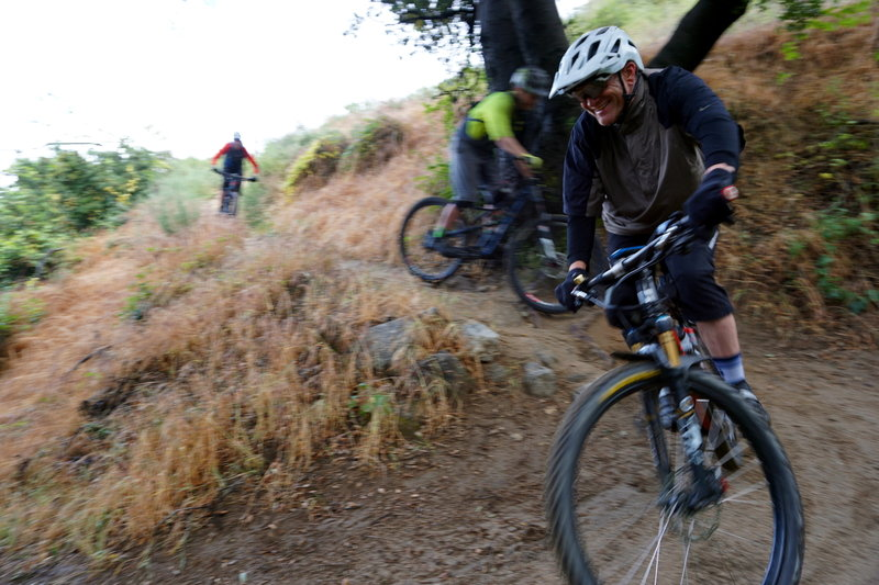The crew drops in at the top of El Prieto.