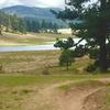 Riding towards the Big Laguna Lake, with water!