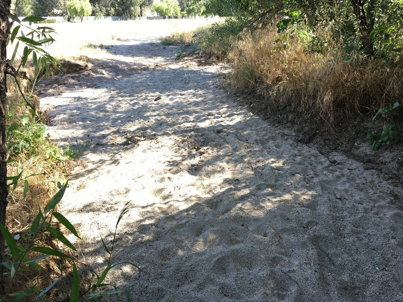 Watch for deep, soft sand as this wash crossing.