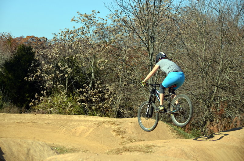 Enjoying a quick lap of the South Germantown Recreational Park Pump Track.
