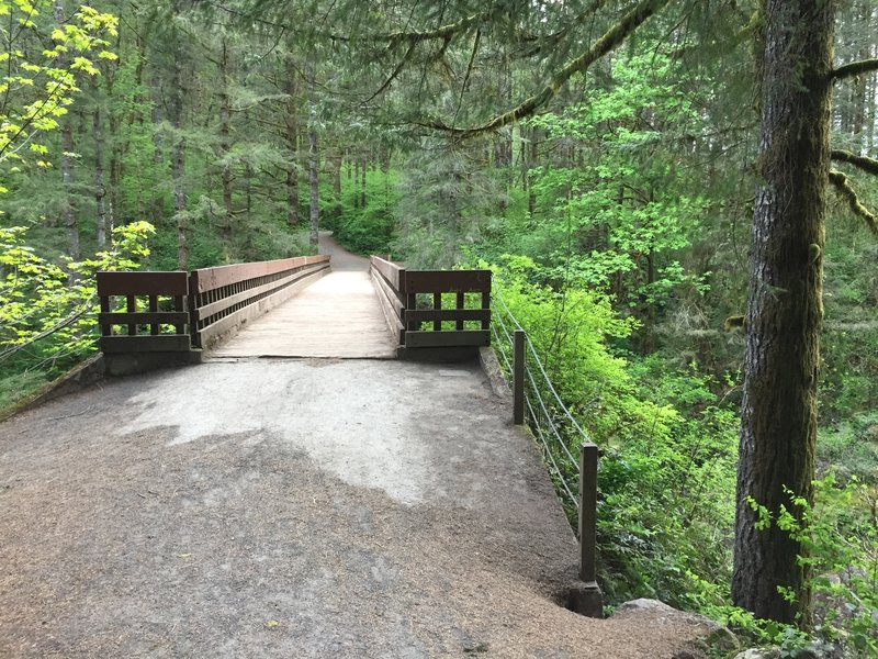 This bridge crossing soon leads to the start of the Bells Mountain Trail.