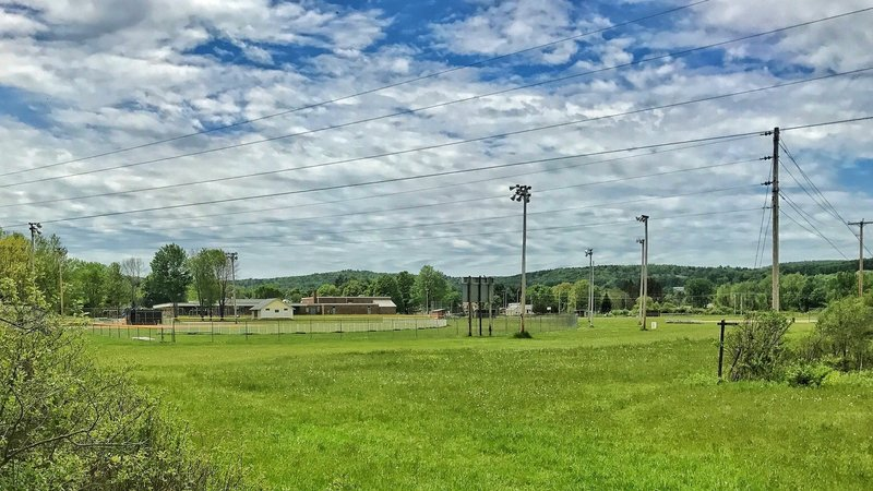 The D&H Rail Trail passes behind Poultney Elementary School in Poultney, VT.
