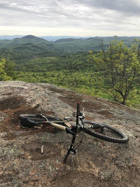View back toward Elizabethtown, the Adirondack Mountains, a bit of Lake Champlain and the Green Mountains of Vermont on the horizon.