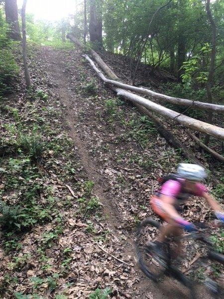 Amanda is a blur at the bottom of the big Zulu hill.