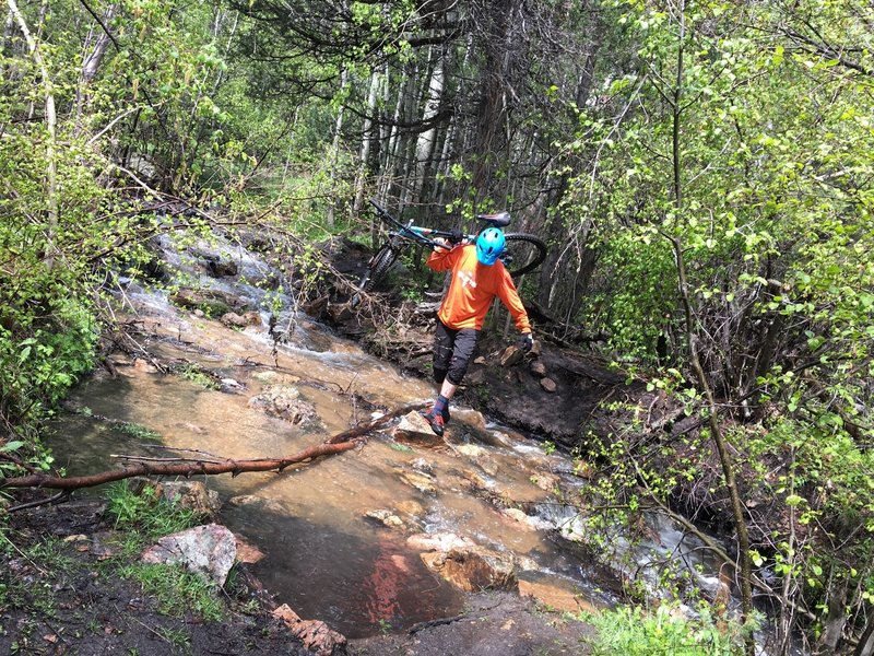 Heavy spring runoff adds to the adventure with several creek crossings. They're all rideable in spite of what this guy is doing.
