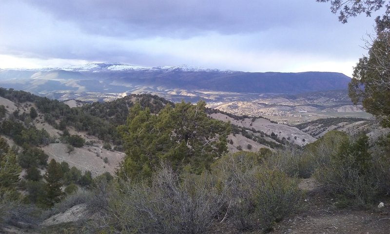 View of Eagle, Colorado from Abrams Ridge. Castle peak in the background.