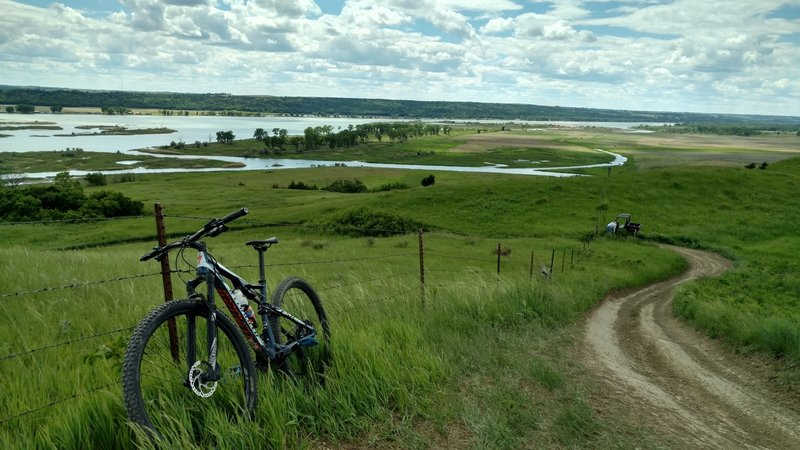 Looking over the Missouri River from the bluff.
