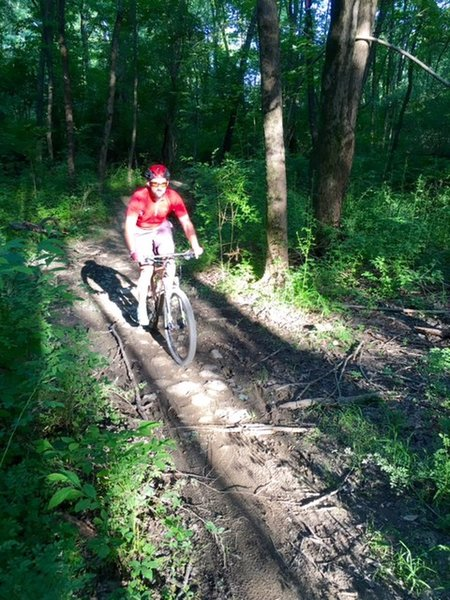 John M. crosses a rocky mud-mitigation path.